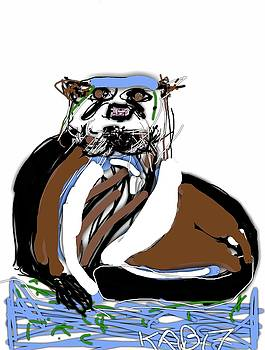 River Otter Stare by Kathy Barney