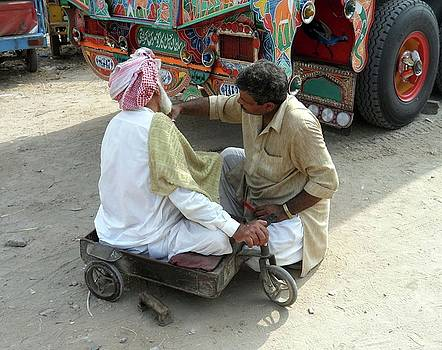 Road Side Barber by Bobby Dar