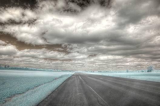 Road sky infrared clouds landscape open road travel path road trip by Jane Linders