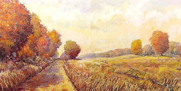 Road To Lake diptych by Maxim Grunin
