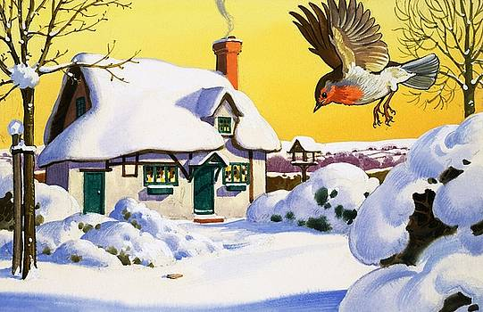 English School - Robin flying in the snow