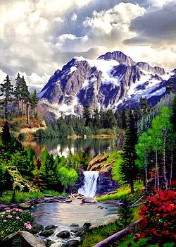 Rocky Mountain Cascade by Ron Chambers