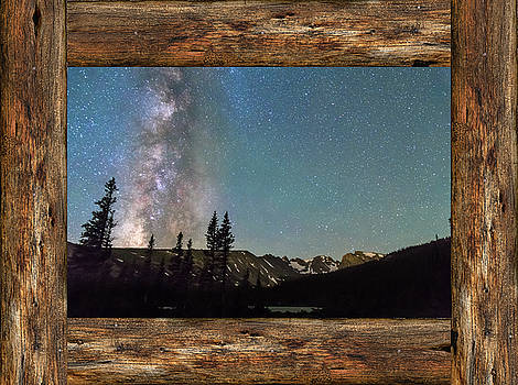 James BO Insogna - Rocky Mountain Milky Way Rustic Wood Window View
