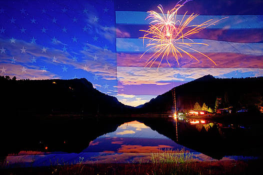 Rocky Mountains American Fireworks Show by James BO Insogna