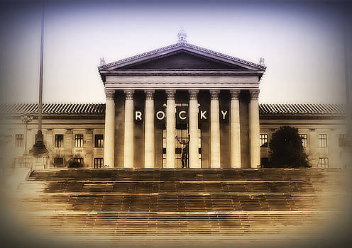 Rocky on the Art Museum Steps by Bill Cannon