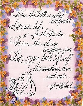 Roll Call Spencerian Hymn by Valerie VanOrden