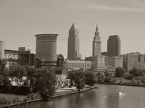 Rolling on The River Sepia Cleveland OH by Nancy Spirakus