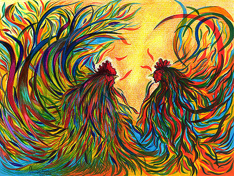 Roosters Frienship by Fanny Diaz