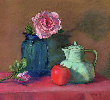 Rose in Blue Jar by Vikki Bouffard