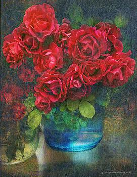 Roses In Blue Jar by R christopher Vest