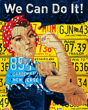 Rosie the Riveter We Can Do It Promotional Poster Recycled License Plate Art by Design Turnpike