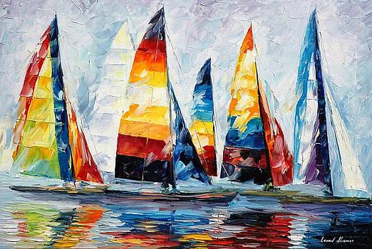 Royal Regatta - PALETTE KNIFE Oil Painting On Canvas By Leonid Afremov by Leonid Afremov