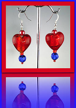 Ruby Red and Cobalt on Sterling wires by Cheryl Brumfield Knox