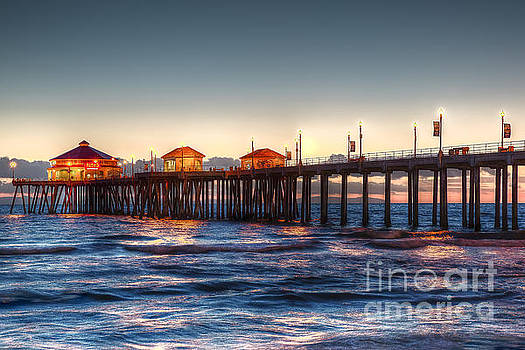 Ruby's Surf City Diner at Twilight - Huntington Beach Pier by Jim Carrell