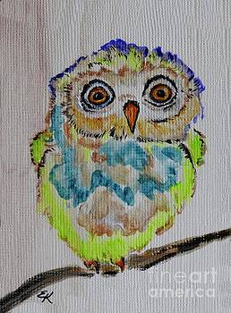 Runt of the Litter - Colorful Owl Art #560 by Ella Kaye Dickey
