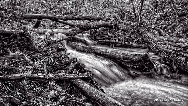 Rushing Stream - BW by Christopher Holmes