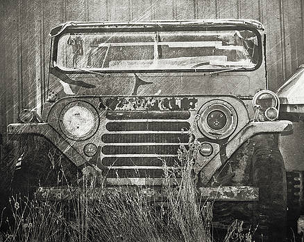 Rusted Army Jeep in Black and White by Emily Kay