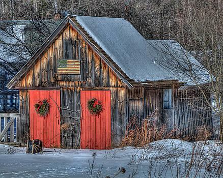 Rustic Barn with Flag in Snow by Joann Vitali