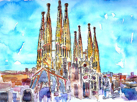 Sagrada Famila in Barcelona with Blue Sky by M Bleichner