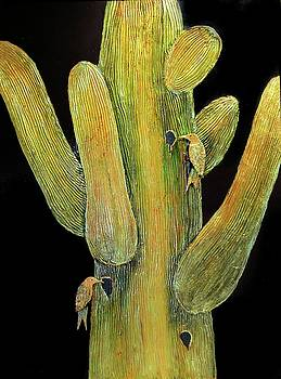 Saguaro Cactus With Birds by JAXINE Cummins