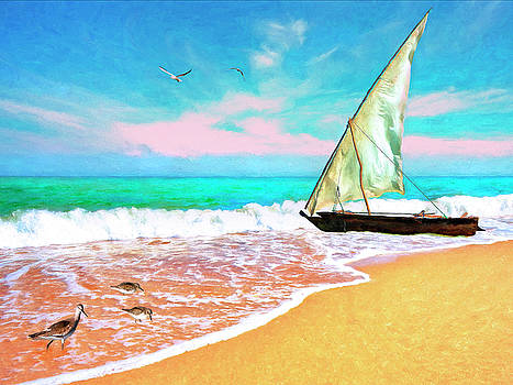Sail Boat on the Shore by Sandra Selle Rodriguez