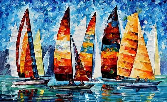 Sail Regatta - PALETTE KNIFE Oil Painting On Canvas By Leonid Afremov by Leonid Afremov