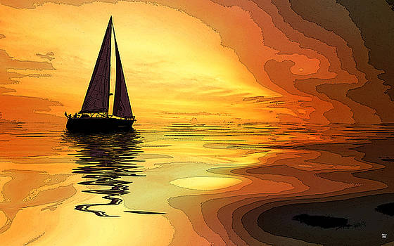 Sailboat At Sunset by Charles Shoup