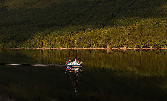 Sailboat in sun by Kathleen McGinley