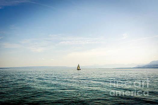 BERNARD JAUBERT - Sailboat on Lake Geneva. Switzerland.