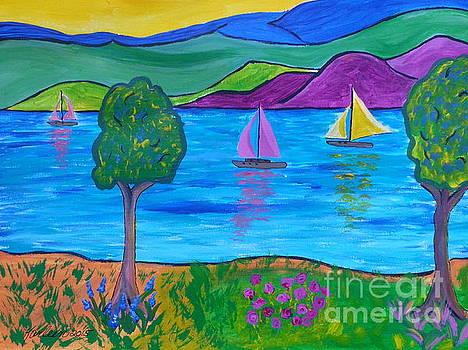 Sailboats and Mountains by Karleen Kareem