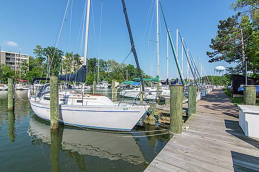Sailboats at Dock by Charles Kraus