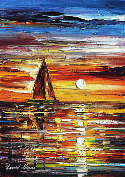 Sailing With The Sun 3 - PALETTE KNIFE Oil Painting On Canvas By Leonid Afremov by Leonid Afremov