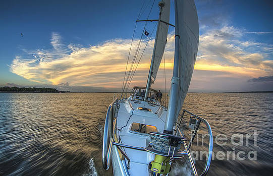 Sailing Yacht and Tropical Storm Ana Outflow  by Dustin K Ryan
