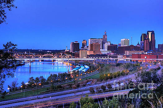 Saint Paul Minnesota Skyline Blue Morning Light by Wayne Moran