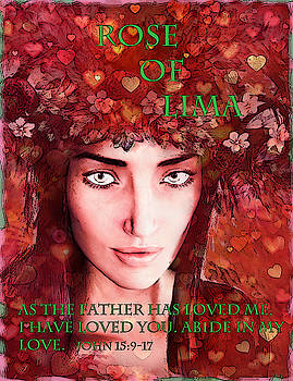 Saint Rose of Lima valentine poster by Suzanne Silvir