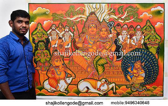 Sakthipanchakshari- Kerala Mural Painting by Shaji Kollengode