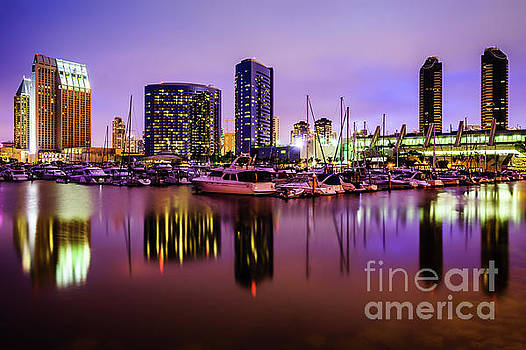 Paul Velgos - San Diego Marina at Night with Luxury Yachts