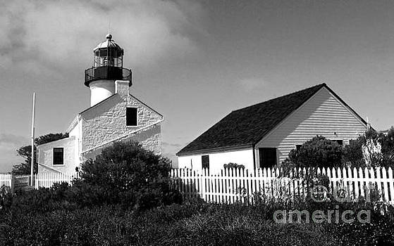 Gregory Dyer - San Diego Point Loma Peninsula Lighthouse in black and white