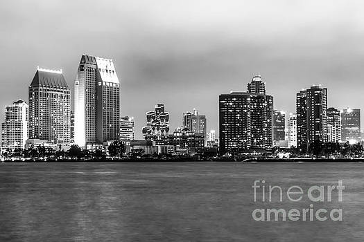 Paul Velgos - San Diego Skyline at Night Black and White Picture