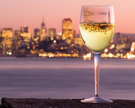 San Francisco Bay Wine Glass by David Rigg