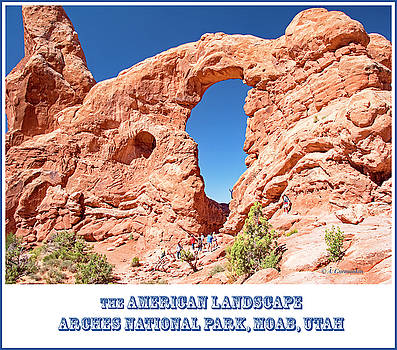 Sandstone Arch Formation and Tourists, Arches National Park, Moa by A Gurmankin
