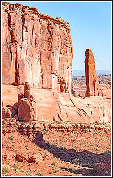 Sandstone Butte and Canyon Floor, Arches National Park, Moab, Ut by A Gurmankin