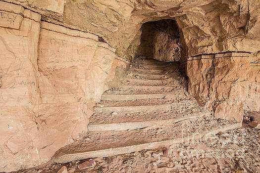 Sandstone Staircase in Abandoned Modern Cliff Dwelling - Utah by Gary Whitton