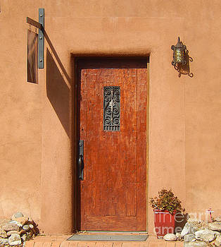 Santa Fe Door With Wrought Iron by Ann Johndro-Collins