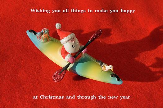 Santa Kayaking Card by Sally Weigand
