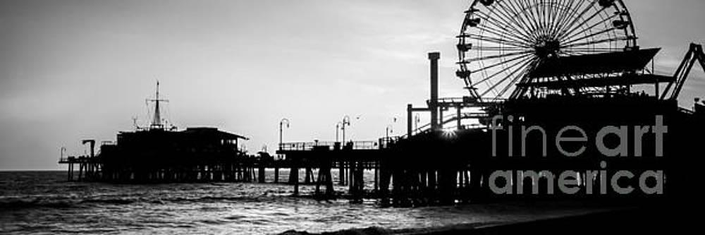 Paul Velgos - Santa Monica Pier Black and White Panoramic Picture