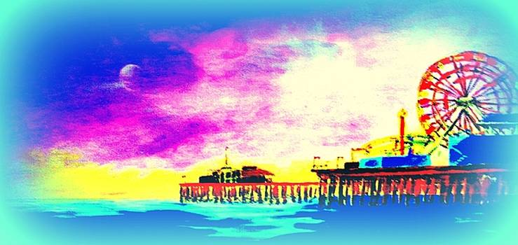 Santa Monica Pier In Blue by Irving Starr
