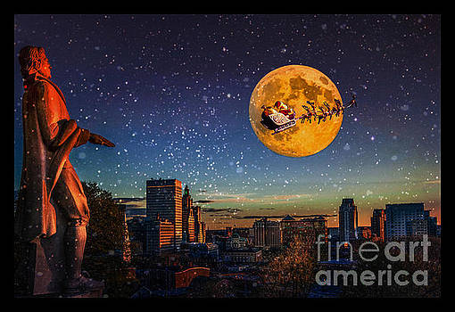 Santa Over Providence by Jerri Moon Cantone