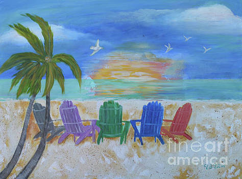 Sarasota Beach Chairs and Sunset by To-Tam Gerwe