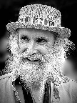Sax Man in Black and White by Jen White